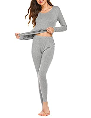 Ekouaer Women's Thermal Underwear Set Ultra Soft Top and Bottom Winter Warm Long Johns Light Grey