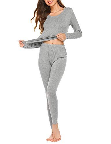 Thermal Underwear Women Ultra-Soft Long Johns Set Base Layer Skiing Winter Warm Top & Bottom Light Grey
