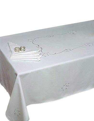 Zenoni & Colombi Nappe Nicola 100% Coton brodée Main Made in Italy 170x320 cm avec 12 Serviettes de Table