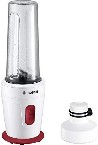 Bosch MMBP1000 - Licuadora (0,5 L, Botones, Batidora de vaso, Rojo, Blanco, De plástico, Acero inoxidable)