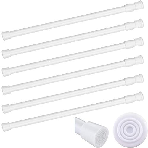 Hiyfe - 6 barras de cortina ajustables con tensión de muelle, barras extensibles, sin taladrar, de metal, barras de tensión de primavera para ropero, cuarto de baño, cocina (blanco, 40 – 70 cm)