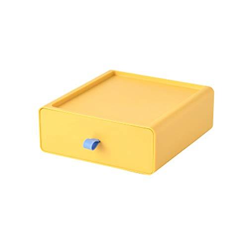 Cajonera cuadrada organizadora de maquillaje, apilable, torre de cajones para escritorio, mini cómoda (amarillo)