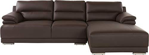 Loft 24 A/S Ecksofas Polsterecke Eck-Couch Sofa mit Kissen Schlafsofa Modern L-Form Couch (braun, Natur Leder, Recamiere rechts)