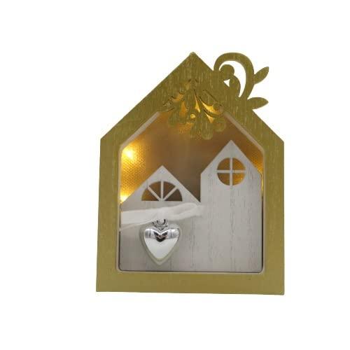 Natale Wald casetta legno paesaggio con led e pendaglio
