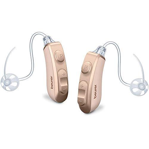 Beurer HA 80 Paar digitale Hörhilfe im 2er Set, ergonomische Passform, 4 Aufsätze, 2 Hörprogramme, rauscharme Wiedergabe, wechselbare Akkus, Box mit Ladefunktion