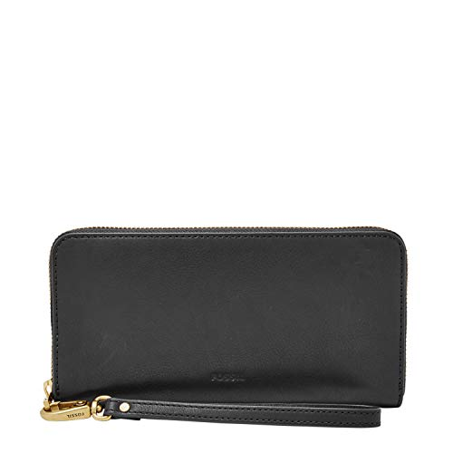 Fossil Women's Emma Leather Large Zip Wallet, Black
