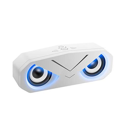 Altoparlante Bluetooth con Luci LED, Sonkir Casse Portatili Bluetooth 5.0 Senza Fili TWS con Bassi Profondi Altoparlante Stereo Subwoofer AUX TF per Viaggi in Campeggio in Spiaggia (Bianca)