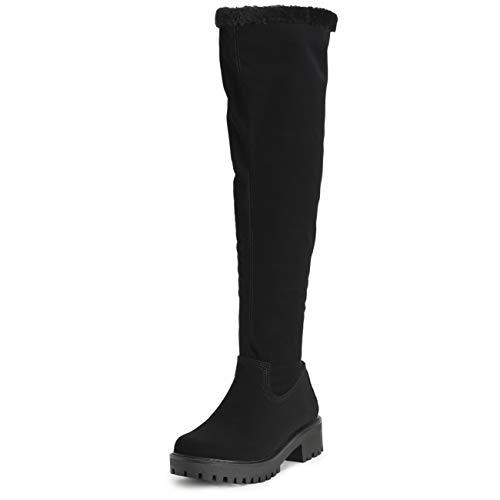 VIVASHOhe Dames kniehoog, volledig kunstbont, gevoerd leer, Klobige hiel, waterdichte rubberen zool, winter riding laarzen