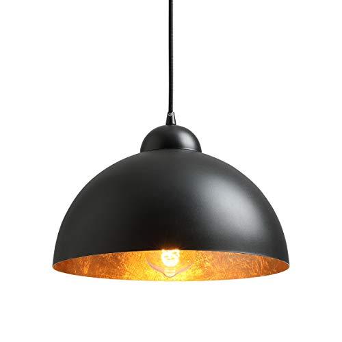 """NEWSEE Pendelleuchte Vintage Lampen Hängeleuchte Schwarz-Gold (Black) 12"""" E27 für Max 60W Industrielle Lampe Esstisch Deko Wohnzimmer Retro Lampe"""