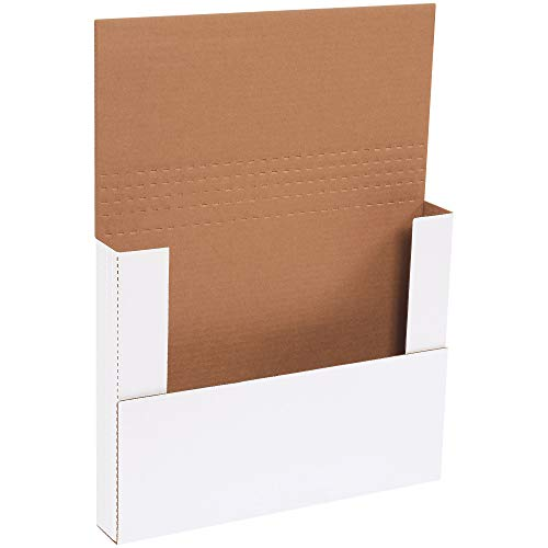 Boxes Fast BFM14112BF Corrugated Cardboard Easy-Fold Mailers, 14 1/4 x 11 1/4 x 2 Inches, Fold Over Mailers, Adjustable Die-Cut Shipping Boxes, Multi-Depth, Large White Mailing Boxes (Pack of 50)