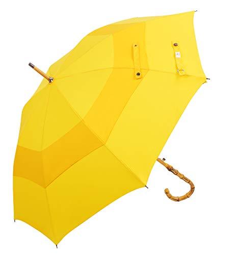 UK Designed—Balios Prestige Walking Stick Umbrella—Bamboo Handle—Double Canopy (Jet Black)