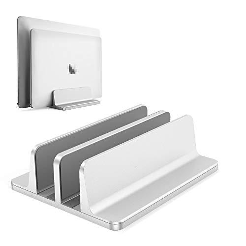 Soporte Vertical para portátil BECROWMEU, Soporte de Escritorio Doble con Base Ajustable (hasta 17,3 Pulgadas), se Adapta a Todos los MacBook/Superficie/Samsung/HP/DELL/Libro Cromado,Plateado