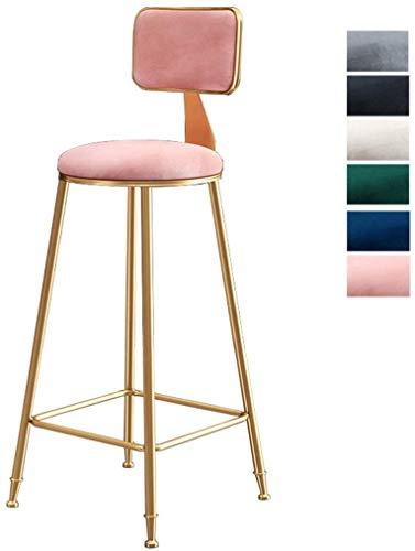 JZX Bar, cafetería, silla de restaurante, taburetes de bar, cocina, sillas de comedor con patas de metal dorado Bar Taburete de bar Taburetes de maquillaje Cojín de terciopelo Europeo moderno (45/65/