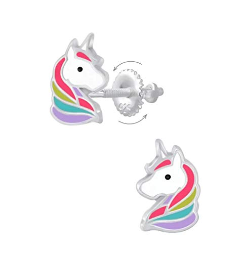 La Rosa Princesa – Pendientes infantiles de unicornio de plata de ley 925 – Cierre de rosca Diva