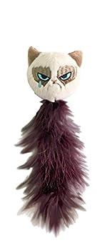 OSKR Grumpy Cat Jouet Grincheux avec Queue en Plume pour Chat 24cm