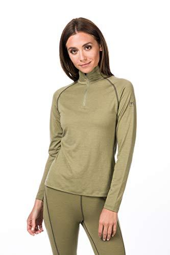 super.natural Base 1/4 Zip 175 T-Shirt à Manches Longues en Laine mérinos. Femme, Bamboo/Killer Kaki, s