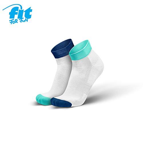 Fit for Fun Kurze Laufsocken – von INCYLENCE, buntes Design, Sportsocken mit verstärkter Polsterung, ultraleichter Support beim Fitness, Laufen & Biken, weiß/blau/Mint (43-46)