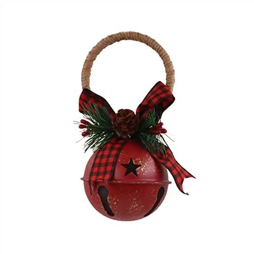 HUIKJI 2 campane natalizie, rustiche in ferro a forma di stella, con fiocco di pino e una bacca vintage per la porta di Natale e forniture per la decorazione dell'albero