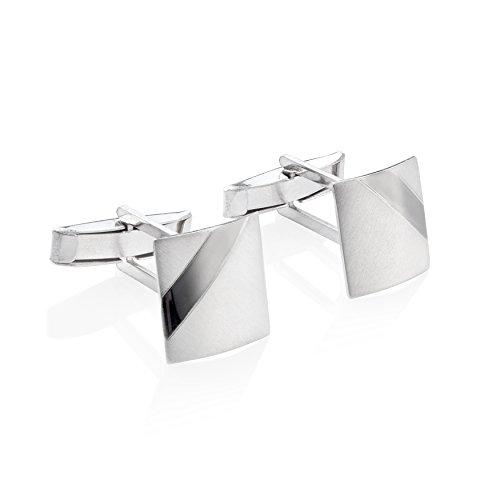 STERLL Herren Manschettenknöpfe Cufflinks Sterling-Silber 925 Gebürstet mit Oxidiertem Streifen Schmucketui Geschenk für Männer