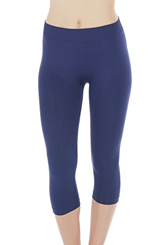 Eco-Friendly Seamless Capri Yoga Tights Leggings for Women - Medium/Large - Navy