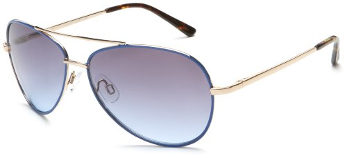 Andrea Jovine Women's A685 Aviator Sunglasses, Gold and Blue Frame/Gradient Blue Lens, 59 mm