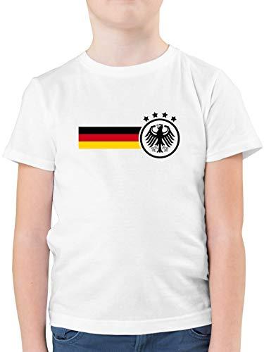 Fußball-Europameisterschaft 2021 Kinder - Deutschland Fan-Shirt - 152 (12/13 Jahre) - Weiß - fußball Geschenk Junge - F130K - Kinder Tshirts und T-Shirt für Jungen