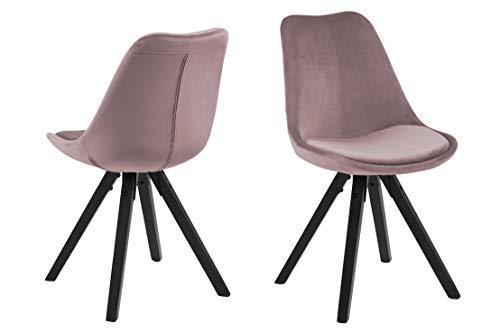 Eine Marke von Amazon - Movian Arendsee - Set aus 2 Esszimmerstühlen, 55 x 48,5 x 85 cm, Blassrosa Stoff, schwarz lackierte Beine aus Kautschukholz