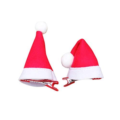Lurrose 10 Stück Mini Weihnachtsmütze Santa Hut Haarspangen Haarnadeln Kinder und Erwachsene