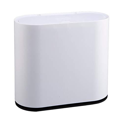 Xcwsmdq Mülleimer Kunststoff-Papierkorb Umweltfreundliche Papiermüllbehälter Mülltonne Press-Typ Abfallbehälter Müll Eimer for Küche Bad Haushalts Reinigungsmittel (Color : White)
