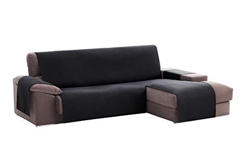 Textil-home Adele Chaiselongue Sofabezug, Beschützer für Rechtsarm Gesteppte Sofas. Größe -200cm. Farbe schwarz (Vorderansicht)