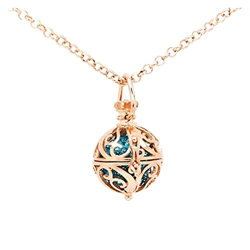 JUSTQIJUN Collar niña Moda Rosa Oro armónico Colgante Moda Flotante Bloqueo de Registro Collar (Metal Color : Rose Gold Color)