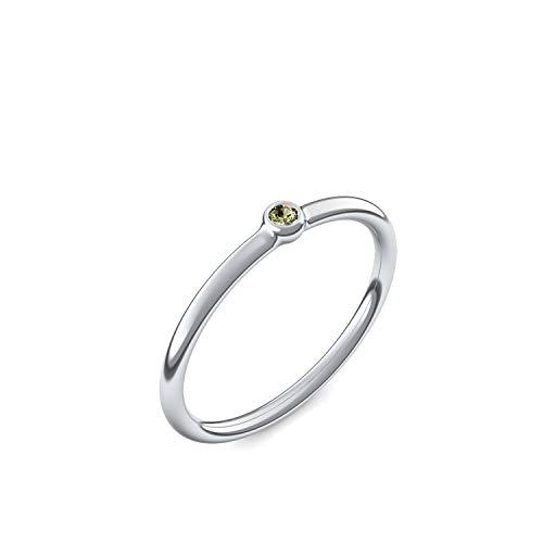 Weißgold Ring Peridot 750 + inkl. Luxusetui + Peridot Ring Weißgold Peridotring Weißgold (Weißgold 750) - Slick one Amoonic Schmuck Größe 58 (18.5) KA11...