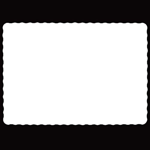 Rectangle Disposable Paper Placemat (100 Pack) - 10 x 14 Inches White Eco-friendly Heavy weight 60 pound paper Place Mat Wavy Scalloped Edge