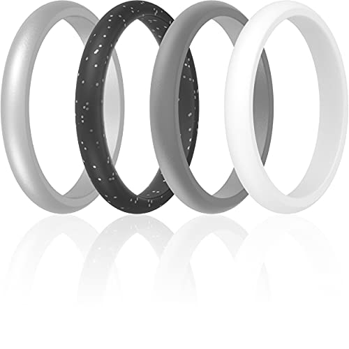 ThunderFit Womens Thin and Stackable Silicone Rings Wedding Bands - 4 Pack (Black Silver Glitter, Light Grey, White, Silver, 4.5 - 5 (15.7mm))
