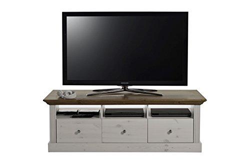 Steens Monaco TV Bank, 3 Schubladen und 3 Fächer, 145 x 49 x 56 cm (B/H/T), Kiefer massiv, weiß provence