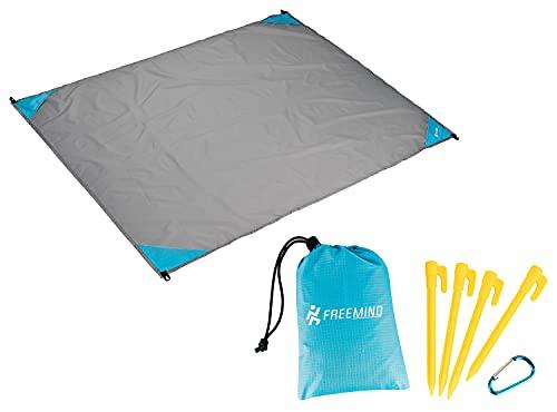 freemind Outdoor Picknickdecke - ultraleichte Nylon Stranddecke - wasserabweisend, kompakt, sandfrei - Mini Pocket Blanket - inkl. Tasche, 4 Heringen, Karabiner (grau-blau)