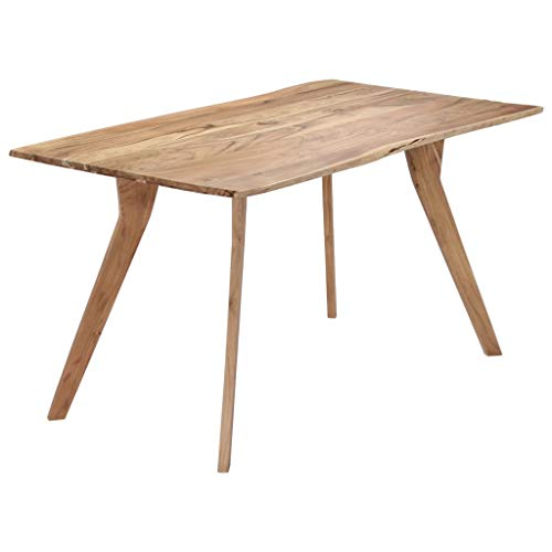 vidaXL Solid Acacia Wood Dining Table Live Edge Style Home Kitchen Breakfast Dining Room Dinner Coffee Stand Desk Furniture Decor 140cm