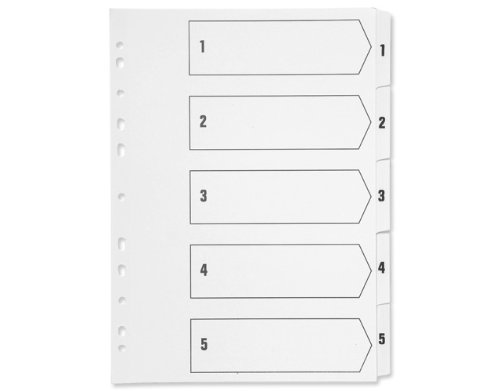 Q-Connect KF01527 Index A4 Multi-Punched 1-5 Reinforced Board Clear Tabbed KF01527 - White