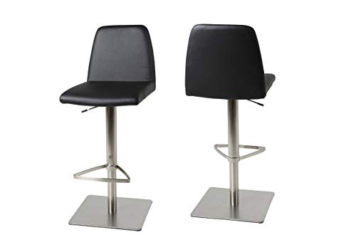 AC Design Furniture Emil Tabourets, Simili Cuir, Noir, L: 52 XL: 42 x H: 111 cm