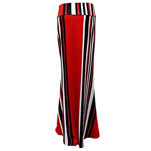 Liably Y2K - Falda bohemia para mujer de cintura alta, estilo informal, estilo informal, línea A, ajustada, cintura alta, elástica y dobladillo, media falda rojo L