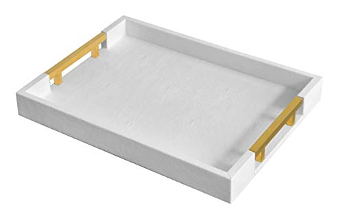Home Redefined Modern Elegant 18'x12' Rectangle White Glossy Shagreen Decorative Ottoman Coffee Table Perfume Living Room Kitchen Serving Tray with Gold Polished Metal Handles for All Occasion's