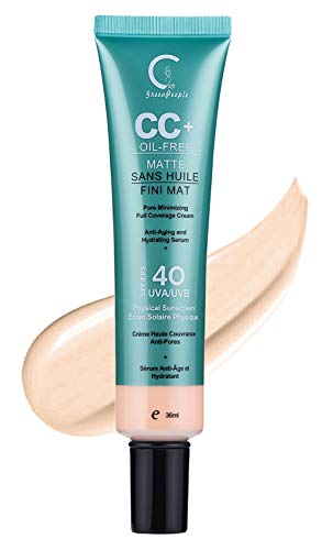 GPGP GreenPeople CC Cream Foundation Concealer with Sunscreen SPF 40+ - Complexion Rescue Tinted Hydrating Gel Cream - 1.21 Ounce (Natural)
