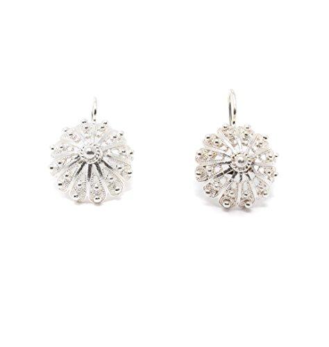 Marrocu Sardischer Schmuck–Ohrringe Knopf Iglesiente Silber silber/schwarz