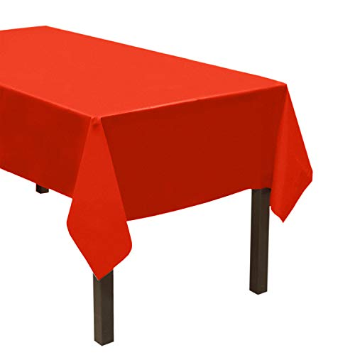 Party Essentials Heavy Duty Plastic Table Cover Available in 44 Colors, 54' x 108', Red