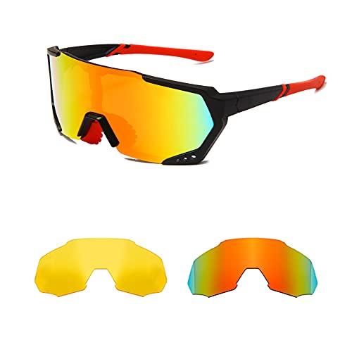 YAMEIZE Gafas de sol polarizadas deportivas para ciclismo para hombres y mujeres UV400 Gafas de golf para pesca al aire libre con 3 lentes intercambiables (GREY&NIGHT VISION &Red)