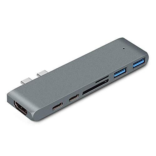 JINHUADAI Type-C HUB double adapter, 7-1 HDMI 4K video program SD TF card reader Thunderbolt aluminum portable laptop docking station (gray)