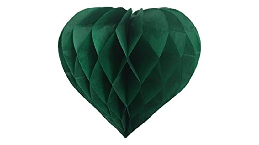 Matissa Pack of 3 Valentines Decoration Heart Shaped Paper Honeycomb Birthday Party Wedding Available in 11 Colours 3 Sizes (All Green, 8