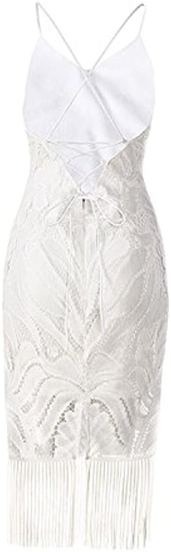 GAOLIM Bodysuits Solidcolord Straps VNeck Halter Fringed Skirt Long Section, XL, White