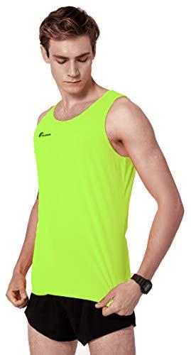 TLRUN Men's Running Tank Top Ultra Lightweight Marathon Singlet Shirts Dry Fit Workout Sleeveless T-Shirt(Medium Yellow)