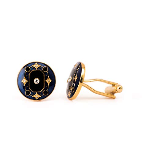 Rosec Jewels Manschettenknöpfe Art Deco Blau klassischer amerikanischer Diamant Manschettenknöpfe emailliertes Messing Manschettenknöpfe Hochzeit Vergoldet Manschettenknöpfe Valentinstagsgeschenk